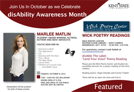 Kent State University will celebrate disAbility Awareness Month throughout the month of October with several events