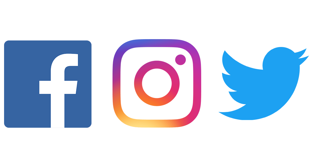 Facebook, Instagram, Twitter logo group