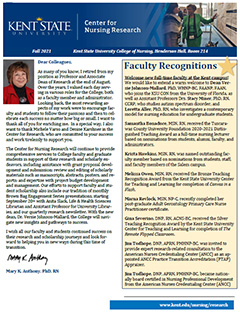 Photo of the cover of the Fall 2021 Center for Nursing Research Newsletter
