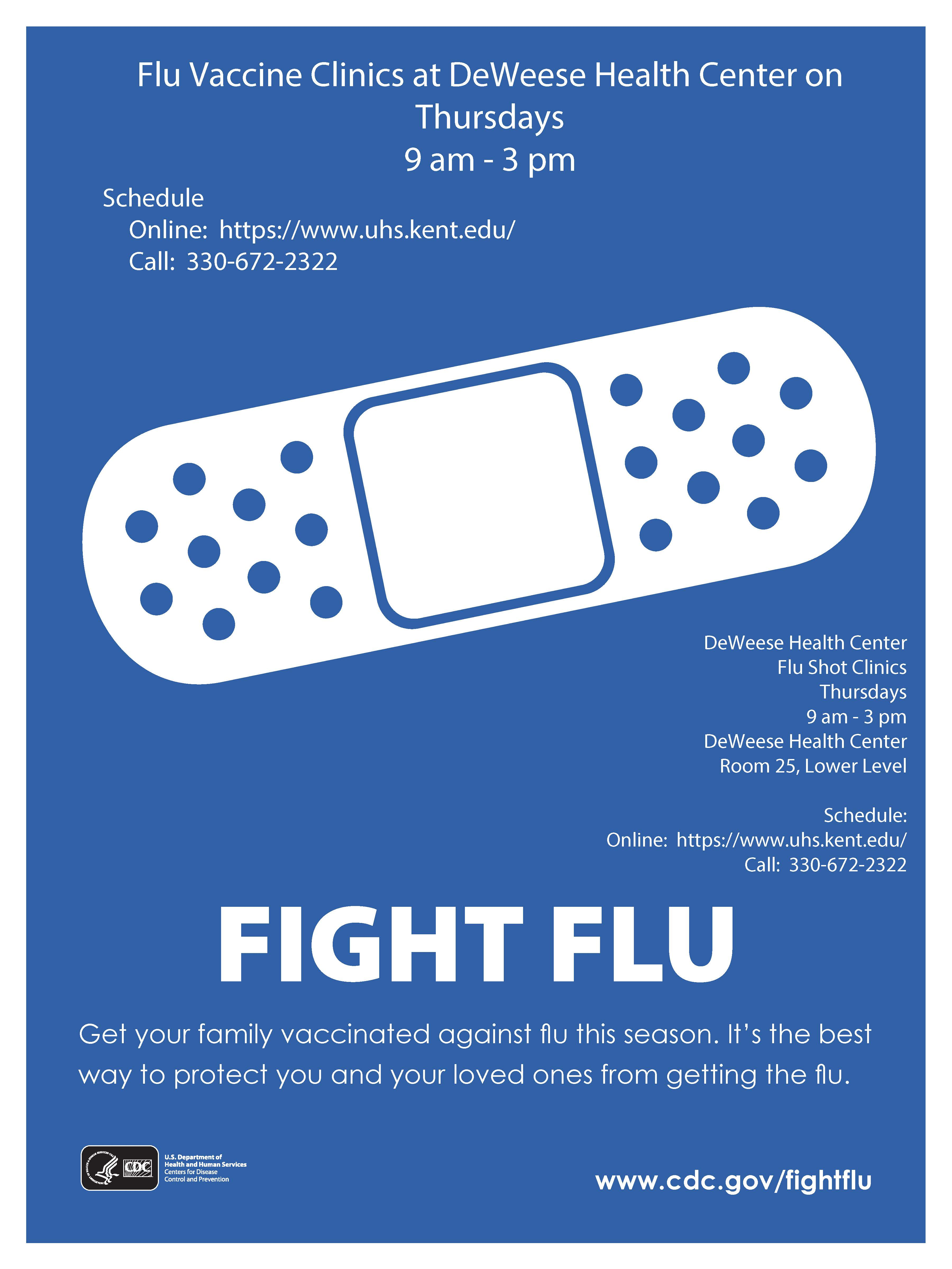 Fight Flu CDC adhesive bandage Flu Vaccine Clinic at DeWeese Health Center Thursdays 9am - 3pm