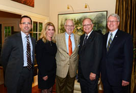 (From left to right) Kent State University Vice President for Institutional Advancement Gene Finn, Kent State Director of Advancement for Constituent Programs Marti Ring, Kent State President Lester A. Lefton, donor John Elliot and Douglas Steidl, dean of Kent State's College of Architecture and Environmental Design, gather for the announcement of a gift to the university.