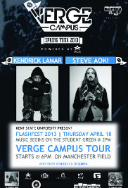 FlashFest 2013 will take place on April 18 and features artists Kendrick Lamar, Steve Aoki, Bad Rabbits and 5 & A Dime.