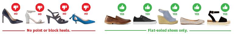 Flat soled shoes