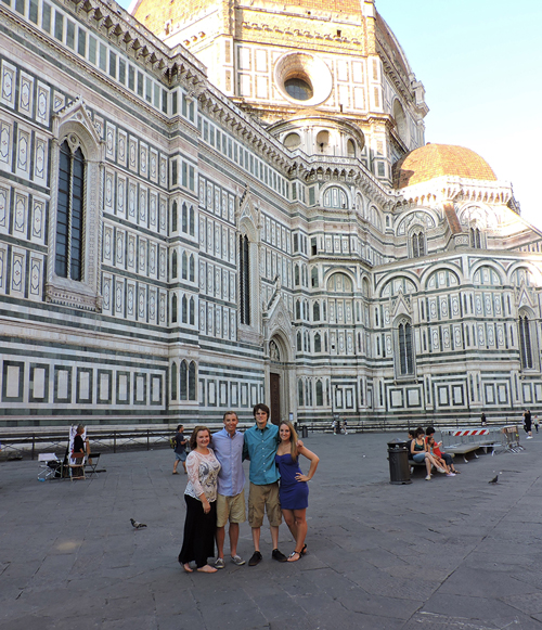 Kent State hospitality management students Jackie Myers, Zach Anderson, Michael Farber and Andrea Sutton explore the city and culture in Florence, Italy