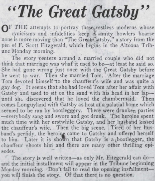 """""""The Great Gatsby"""" printed in a newspaper"""