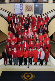 Kent State employees dressed in red outfits in show of support for the Go Red for Women, American Heart Association luncheon.