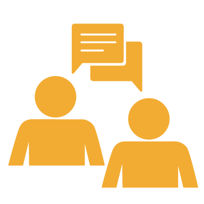 Graphic of two gold people communicating with gold speech bubbles and white text