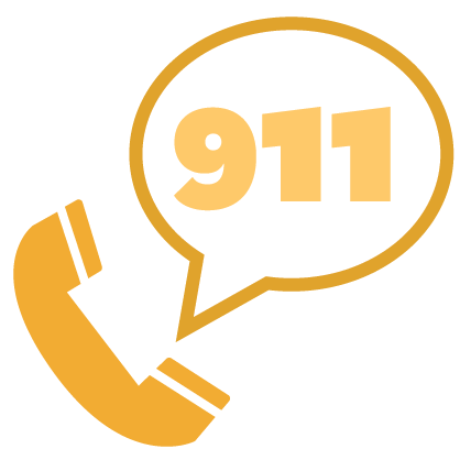 Graphic of gold phone with white text bubble containing gold numbers 911
