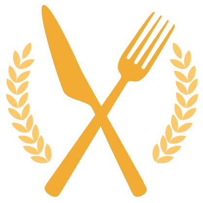 Graphic of a crossed golden fork and knife
