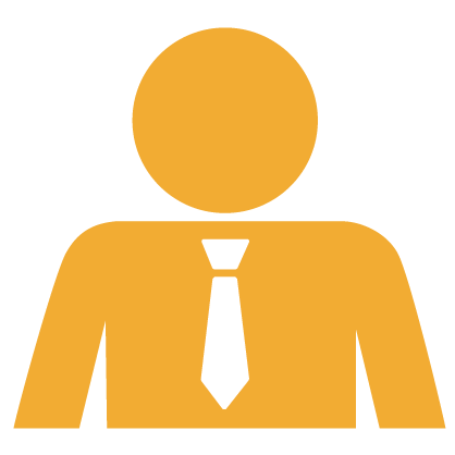 Gold graphic of an employer with a white tie