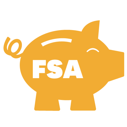 Graphic of gold piggy with white FSA letters