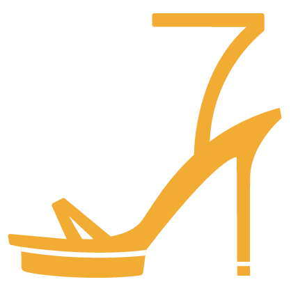 Graphic of a high-heeled shoe in gold