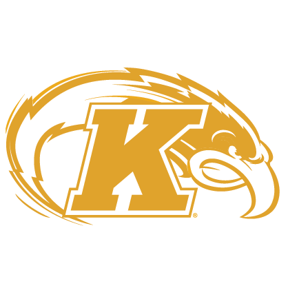 Graphic of a white Flash mascot & Kent 'K' outlined in gold