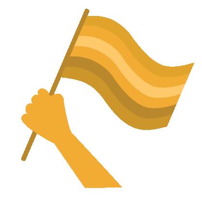 Graphic of gold hand raising flag