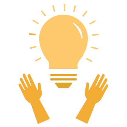 Graphic of illuminating gold light bulb held up by gold hands