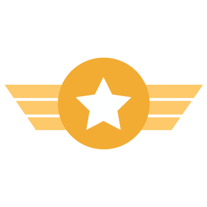 Graphic of gold badge with white star