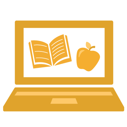 Gold laptop with a book and apple in the screen
