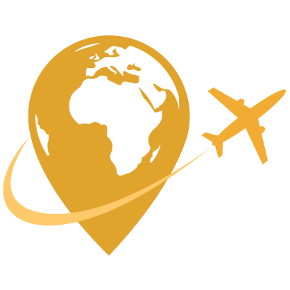 Graphic of a yellow plane flying around a globe shaped into a location marker