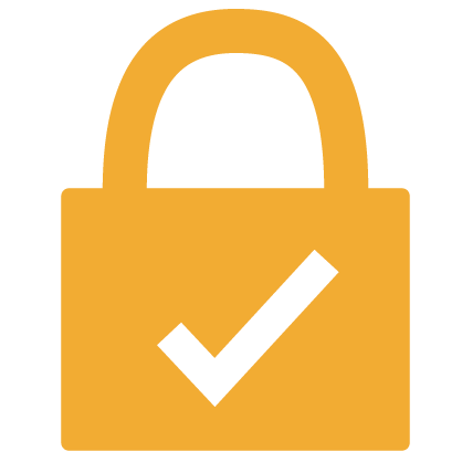 Graphic of a white checkmark in a gold lock