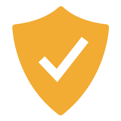 Graphic of gold shield with white checkmark