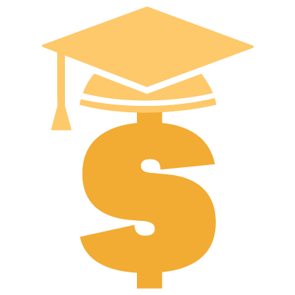 Graphic of a gold dollar sign and cap