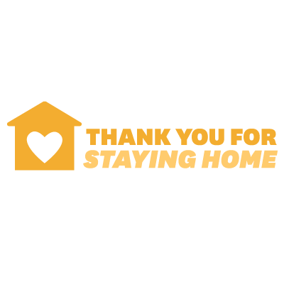 """Gold house with a white heart next to gold text reading """"thank you for staying home"""""""