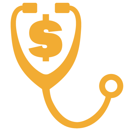 Graphic of a gold stethoscope with a gold dollar sign
