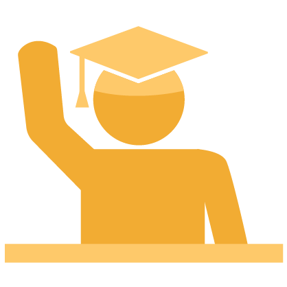 Graphic of a gold student wearing a cap and raising their hand