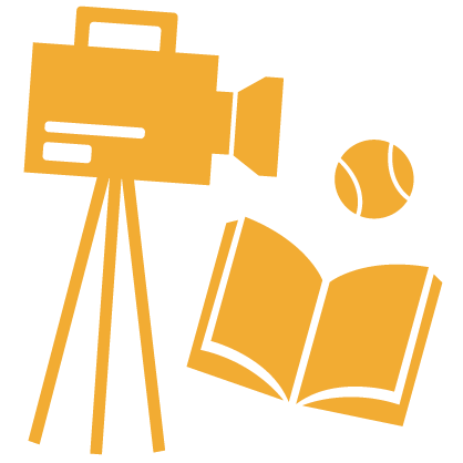 Graphic of a gold camera, book and tennis ball