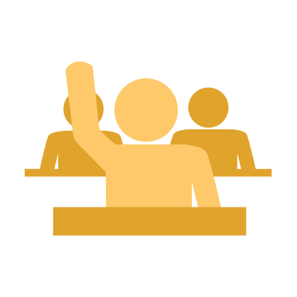 Graphic of gold student raising arm with two gold students sitting behind