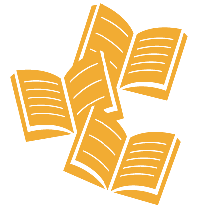 Graphic of three gold open textbooks overlapping each other
