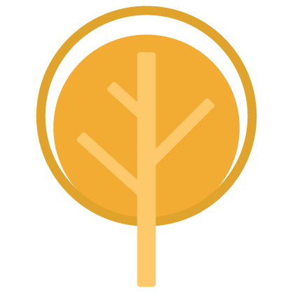 Graphic of a round, golden tree