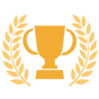 Graphic of a gold trophy cup surrounded by gold leaves