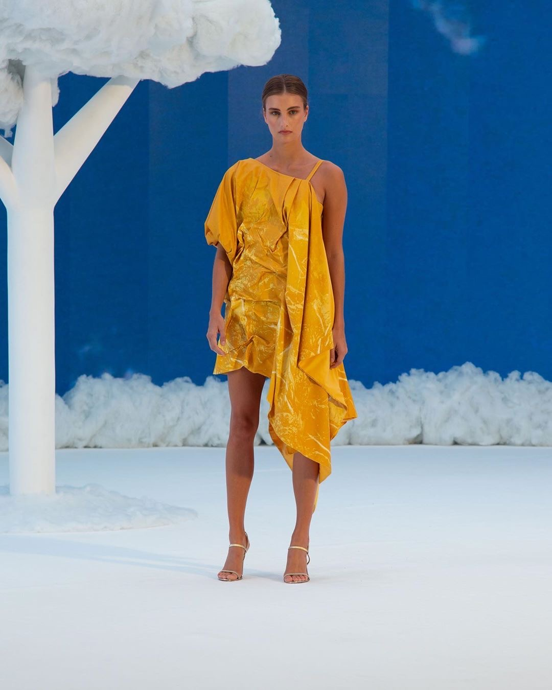 Yellow/Gold runway look by Nguyen from 2020 Supima Design Competition