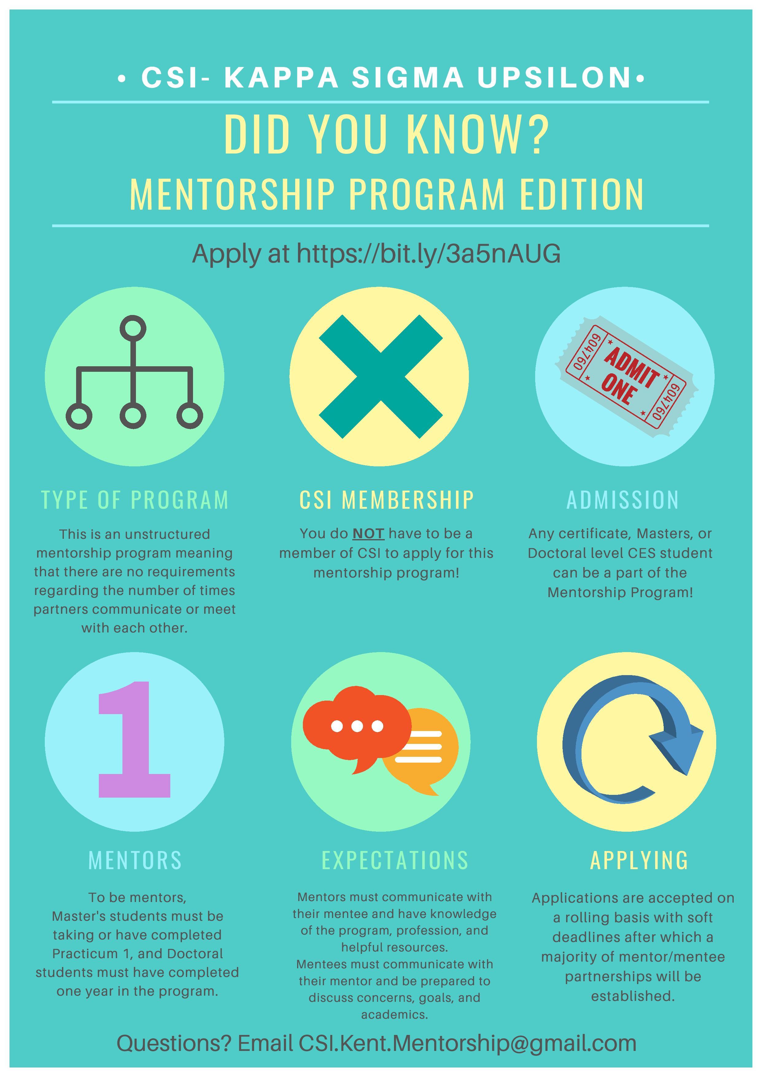 CSI KSU Mentorship Program Flyer