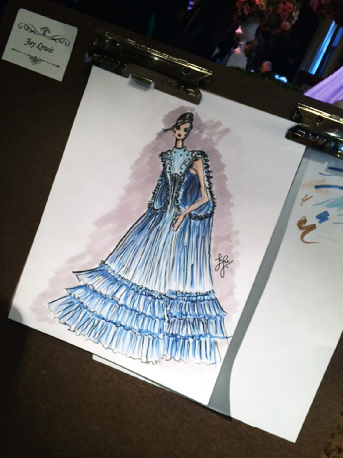 Pictured is Kent State fashion design student Jay Lewis' award-winning sketch.