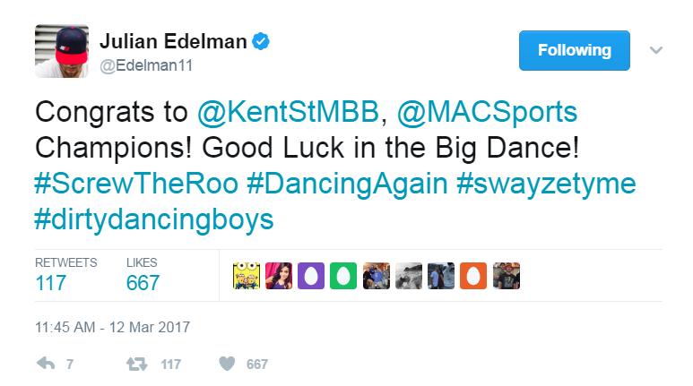Julian Edelman congratulates the Kent State men's basketball team.