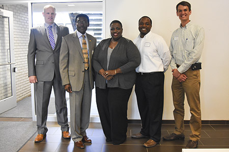 From left to right: Jason Jones, vice president and general manager, Turner Construction; I. Richmond Nettey, associate dean, College of Applied Engineering, Sustainability and Technology, Kent State; Veronica Cook-Euell, supplier diversity program manager, Kent State; Taurean Spratt, project manager, Turner Construction; and David Elsey, project engineer, Turner Construction.