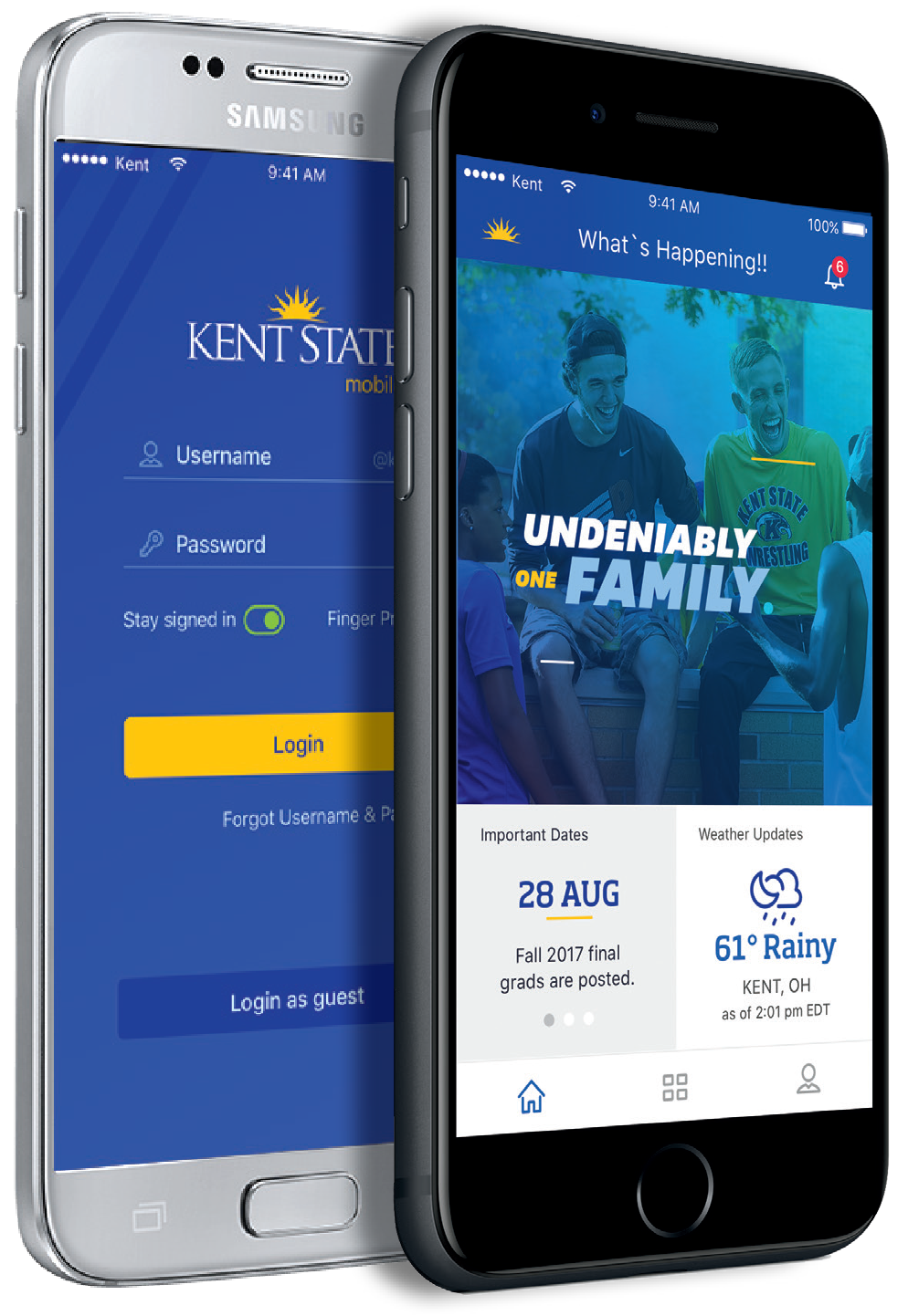 Two smartphones displaying a preview of the new KSUMobile home screens
