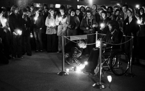Kahler holds a vigil