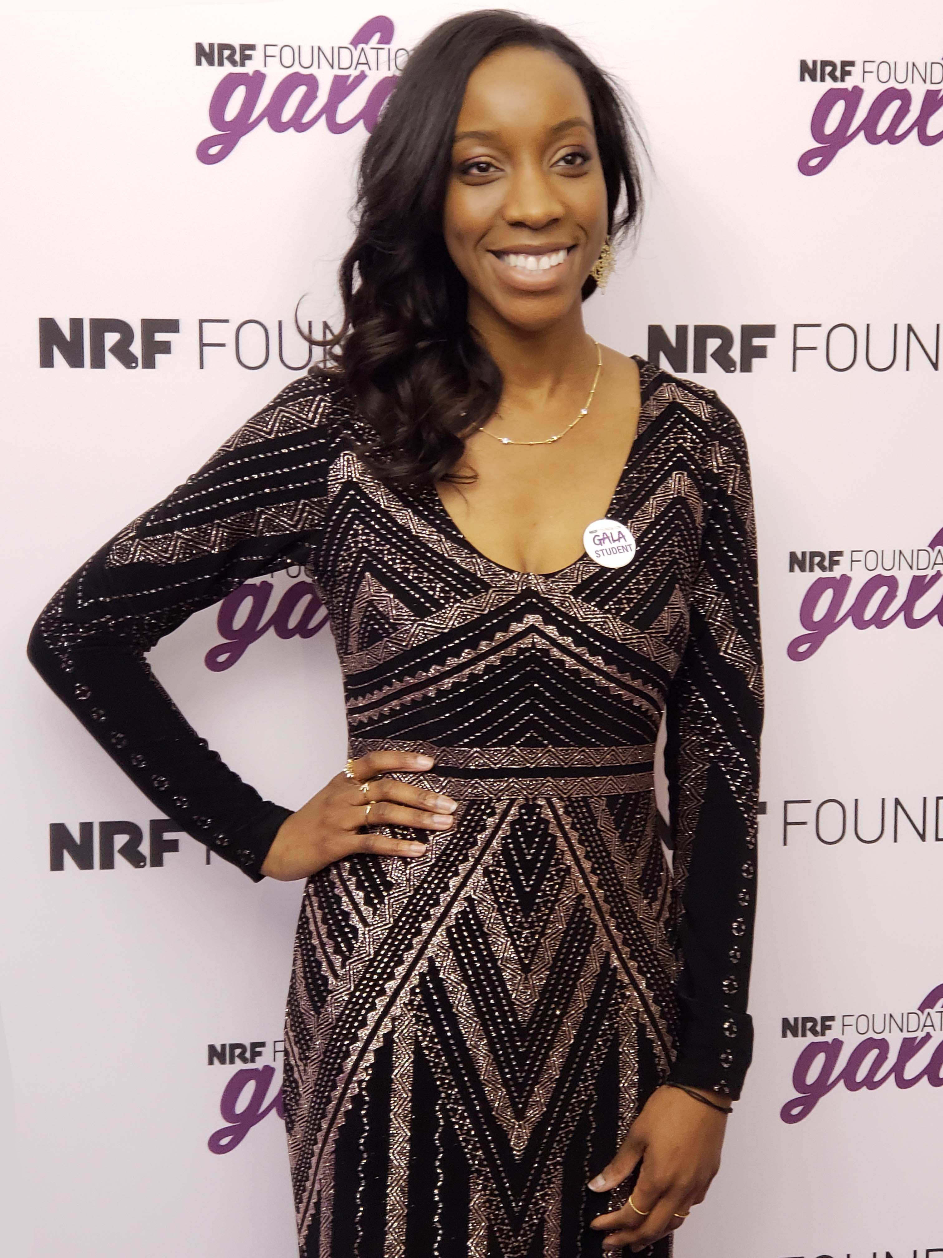 Lauren-Ashley Solomon posing at the NRF Foundation Gala.
