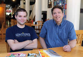 Kent State student Alex Ward (left) and Associate Professor William Kist, Ph.D., (right) collaborated to create a comic strip review of Harvey Pekar's last graphic novel for the Plain Dealer. The strip was set in Tommy's Restaurant in Cleveland Heights, where the photo above was taken