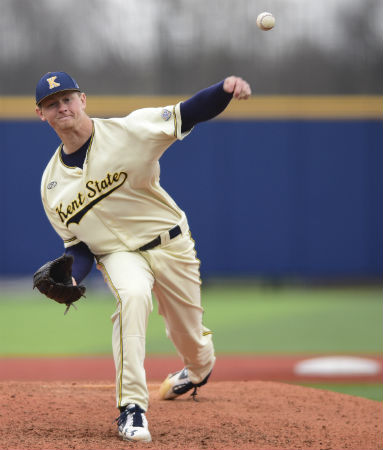 Kent State pitcher Eric Lauer owns the nation's best ERA of 0.69. He has been named the Louisville Slugger NCAA Division I Player of the Year by Collegiate Baseball newspaper.
