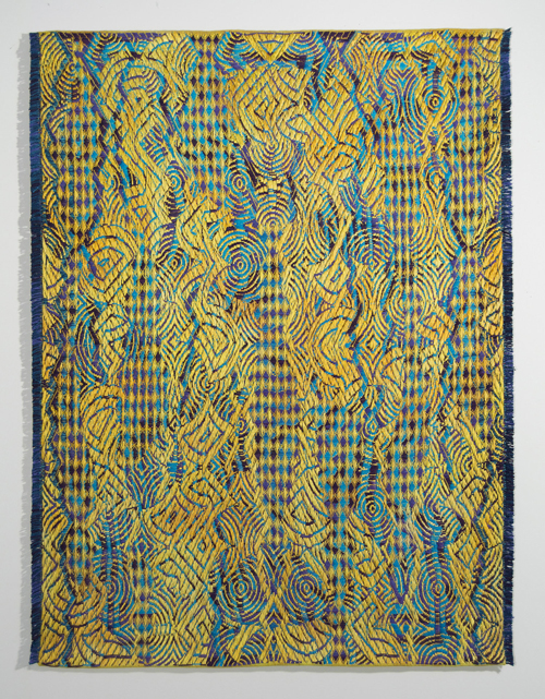 Janice Lessman-Moss weaving for Rhythms and Rotations