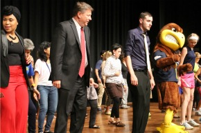 Some Faculty and Staff took part in line dancing with Flash at the Employee Appreciation Day luncheon held in Sept. 2014.