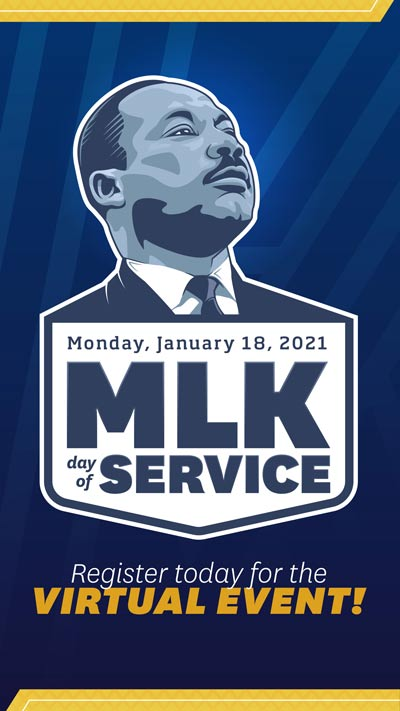 Social Media image graphic for Martin Luther King day of Service 2021