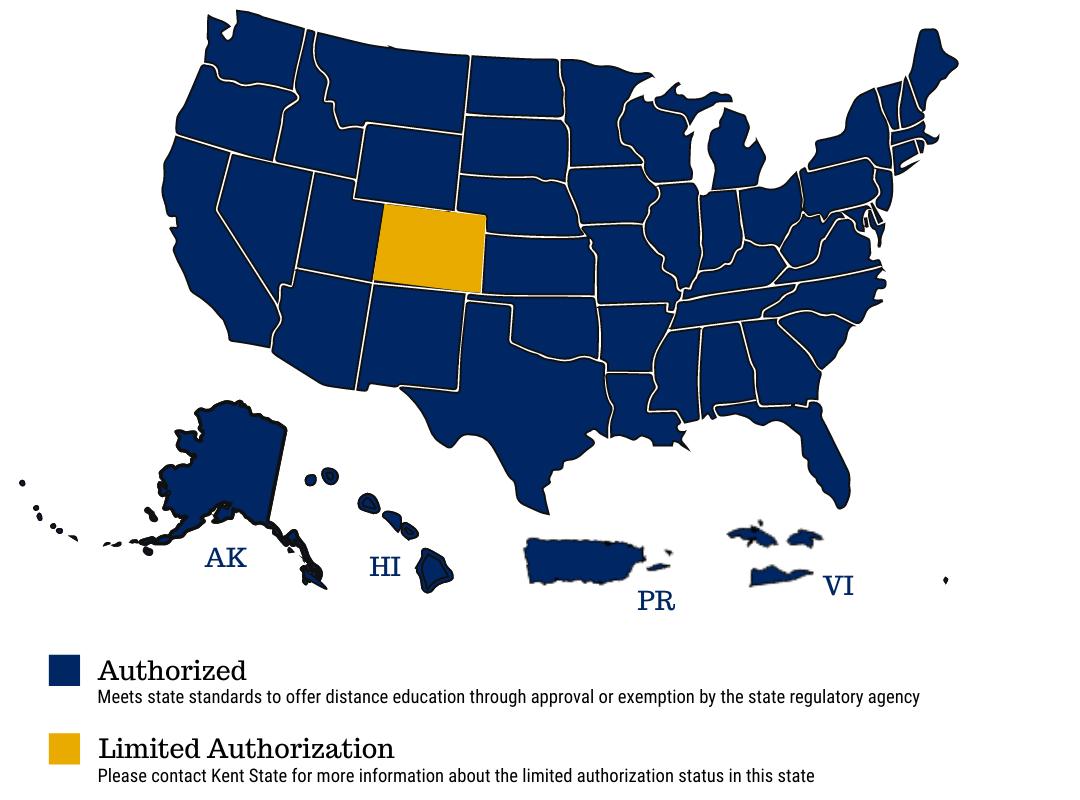 State Authorization Kent State University State Map