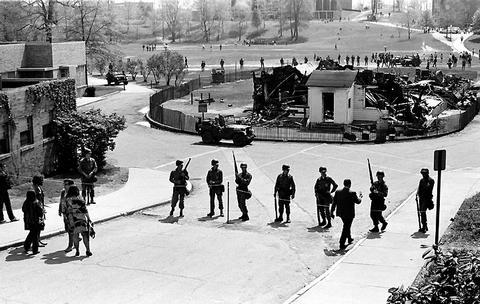 Guardsmen surround ROTC building remains