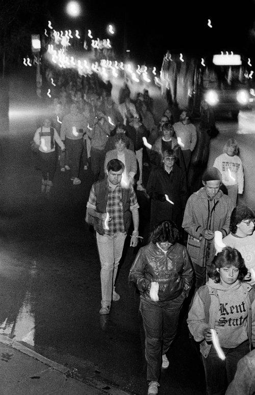 A vigil walk is held on May 4, 1985