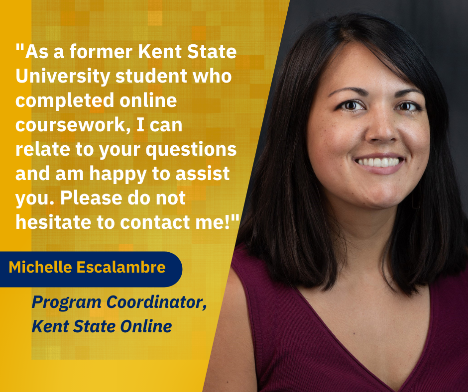This is a photograph of Michelle Escalambre Program Coordinator Kent State Online